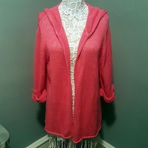 Chico's Knitted Open Cardigan with Attached Hoodie